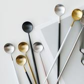 家居長冰勺長柄圓勺咖啡勺攪拌甜品勺子304不銹鋼家用 概念3C旗艦店