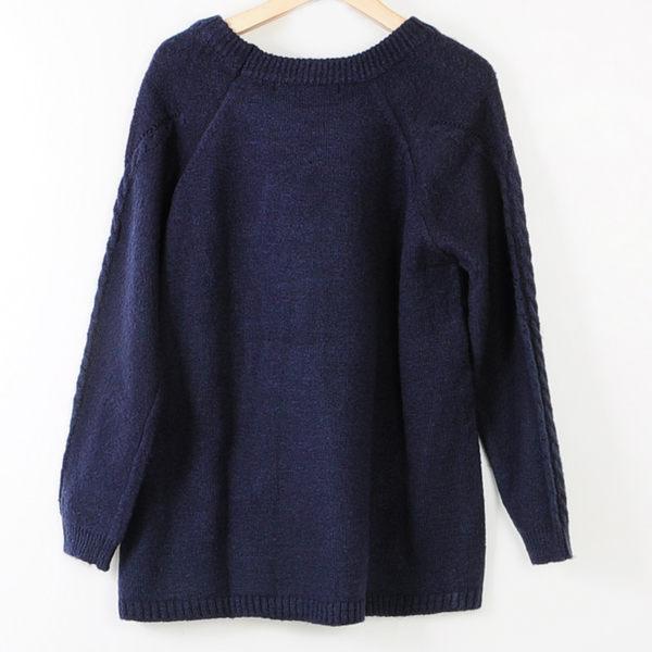 【MASTINA】文青風素面毛衣-藍 冬末好康