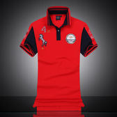 [美國空軍一號休閒服飾] 新款純棉翻領男式POLO衫短袖拼色817/紅色**預購