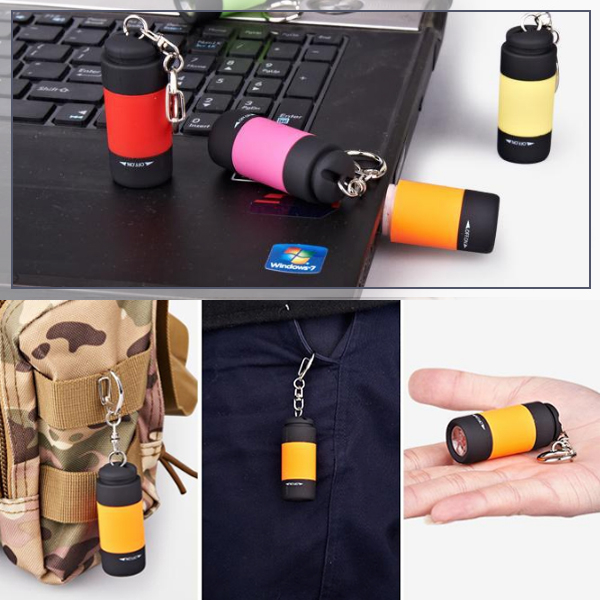 鑰匙圈手電筒 手電筒 迷你手電筒 充電式 應急手電筒 小手電筒 USB充電 鑰匙扣 登山 隨機