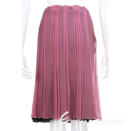 PHILOSOPHY 紫紅色抓褶紗質及膝裙 0510400-04