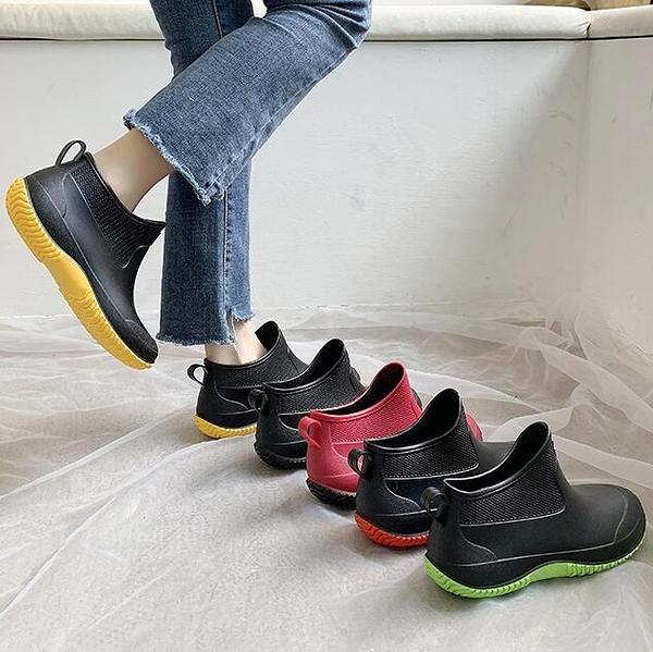 雨鞋 日系時尚款外穿雨鞋女短筒加絨保暖雨靴買菜廚房防滑水鞋洗車鞋【快速出貨】