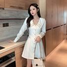 洋裝小香風 白色西裝連衣裙收腰新款秋季女名媛氣質法式小個子醋酸 莎瓦迪卡