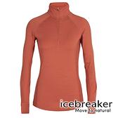【icebreaker】ZONE 女 網眼保暖半開襟長袖上衣 BF260『柚橘』 羊毛 吸濕 排汗 抑味 控溫 104394