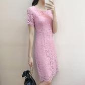 夏季連身裙女新款夏天時尚百搭中長款修身顯瘦包臀蕾絲裙裙子 瑪麗蘇