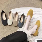 軟底鞋平底單鞋女秋季新款方頭孕婦針織鞋軟底一腳蹬粗跟春季特賣