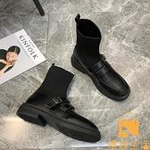 短靴女單靴英倫風瘦瘦馬丁靴襪子靴小皮鞋連襪靴【慢客生活】