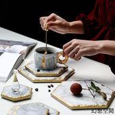 北歐ins風天然大理石手制描金餐墊杯墊餐桌擺件隔熱墊