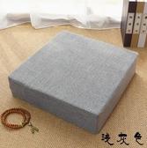 亞麻坐墊地板可拆洗冬季加厚蒲團日式方形客廳臥室榻榻米茶幾坐墊 免運快速出貨