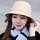 造型帽 新款帽子女時尚英倫毛呢大檐帽呢子帽秋冬韓版盆帽漁夫帽復古禮帽【快速出貨八五折】