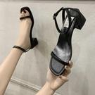 通勤OL高跟鞋女粗跟新款百搭露趾涼鞋韓版中空皮帶扣涼鞋女夏  【快速出貨】