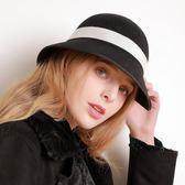 盆帽-撞色蝴蝶結柔軟可折疊女羊毛呢帽2色73tk11[巴黎精品]