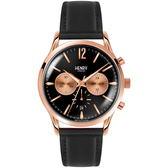 【台南 時代鐘錶 Henry London】英倫復古風潮 典雅品味計時腕錶 HL41-CS-0042 皮帶 玫瑰金 41mm