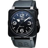 Bell & Ross Aviation 軍事飛行陶瓷機械腕錶-黑/42mm BR0392-BL-CE