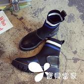 短靴 襪子靴彈力靴夏季短靴女春秋2018新款馬丁靴英倫風粗跟厚底機車靴