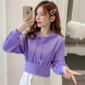 短款衛衣 短款衛衣女2021新款秋季學院風小個子潮ins高腰收腰連帽紫色上衣 韓國時尚週