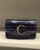 ■現貨在台■專櫃72折■全新真品Chloe C 鱷魚紋小牛皮翻蓋鏈帶包 黑色