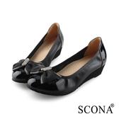 SCONA 蘇格南 全真皮 輕盈鑽飾楔型鞋 黑色 31013-1