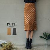現貨★PUFII-中長裙 復古點點後開衩窄裙中長裙 2色-0927 秋【CP15242】