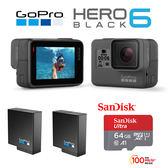 GoPro HERO6 Black 專業4K運動攝影機  64G/100MBs+雙原電含標配(共2顆)  公司貨