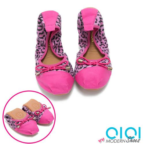 娃娃鞋 豹紋雙拼蝴蝶結口袋娃娃鞋(桃紅) * 0101shoes 【18-A07r】【現+預】