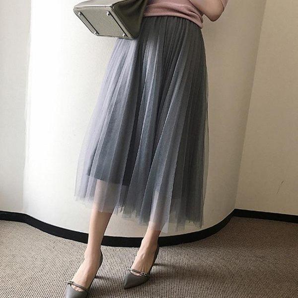 8折免運 紗裙半身裙中長版春秋新款高腰復古百褶網紗裙a字顯瘦長裙女