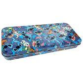 〔小禮堂〕迪士尼 史迪奇 日製掀蓋鐵製鉛筆盒《藍.滿版》收納盒.鐵筆盒.筆袋 4518645-23255
