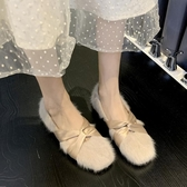 秋冬新款韓版仙女風毛毛鞋方頭低跟交叉帶瑪麗珍鞋chic單鞋女 新年禮物