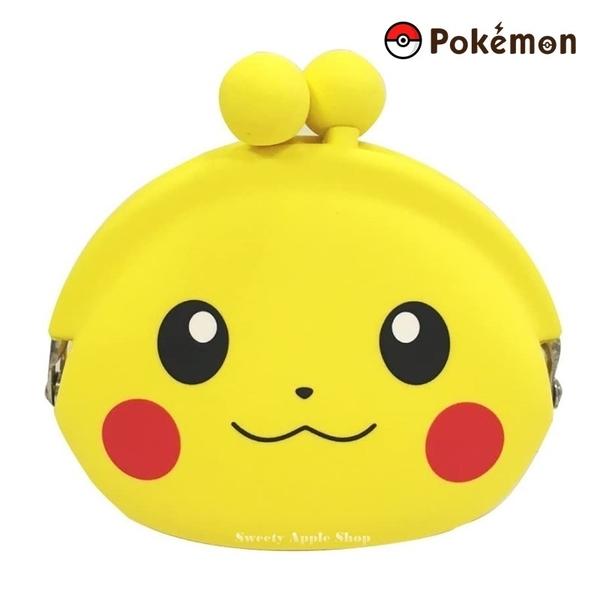 【SAS】日本限定 p+g design 寶可夢 皮卡丘 大臉版 矽膠 夾扣式 零錢包 / 收納包