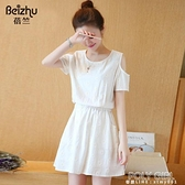 棉麻連身裙子女裝夏裝2021年新款短款收腰顯瘦氣質露肩小個子雪紡 夏季新品
