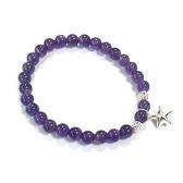 純銀星星與紫水晶圓珠彈性手環