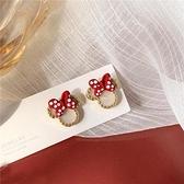 S925銀針韓國甜美可愛米尼老鼠紅色蝴蝶結耳環女2021新款耳釘耳夾 伊蘿