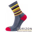 【HORIZON】女 MERINO PREMIUM羊毛輕量健行襪 HO-2310『鐵灰/黃褐條紋』休閒|保暖襪|羊毛