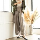 東京著衣-夢展望-荷葉邊高腰格紋寬褲-M(4190079)