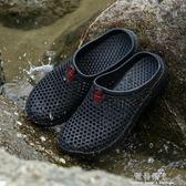 夏季一字拖男士涼鞋洞洞沙灘鞋包頭托鞋男潮夏天防滑涼拖鞋男情侶 完美情人精品館