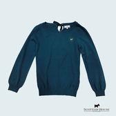 Scottish House 後領格紋綁帶蝴蝶結造型長袖針織上衣 X1427