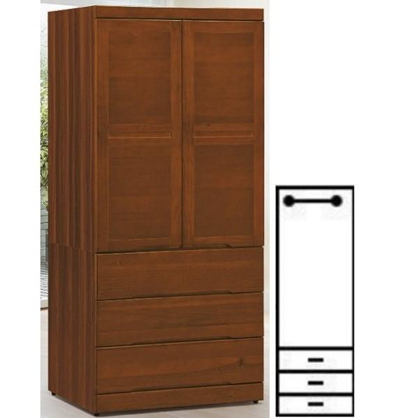 衣櫃 衣櫥 AT-635-3 米亞淺胡桃3X7尺衣櫥【大眾家居舘】