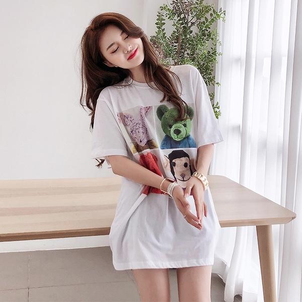 +E6580# 工藝時尚潮中長款女士短袖t恤 &小咪的店&