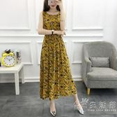 棉綢連身裙女夏季新款20到30歲年輕款顯瘦中長款碎花背心裙子   小時光生活館