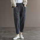 純棉長褲女 寬鬆大口袋牛仔褲 鬆緊腰牛仔哈倫褲/2色-夢想家-0726