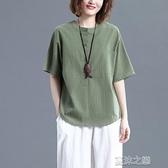 亞麻短袖 棉麻短袖T恤女夏季文藝大碼寬鬆顯瘦純色休閒百搭亞麻襯衫上衣女