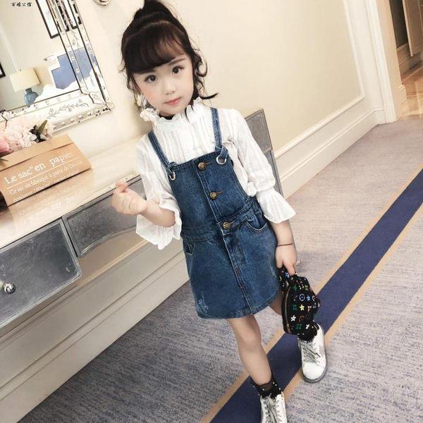 時尚小女孩牛仔裙子兒童背帶裙