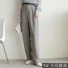 【天母嚴選】知性單釦後鬆緊雪紡長褲附腰帶(共二色)