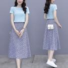 兩件套短袖韓版實拍輕熟御姐范氣質裙子仙女...