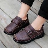 男童皮鞋牛皮男孩鞋子休閒軟底豆豆鞋春季新款中大童學生單鞋 晴天時尚