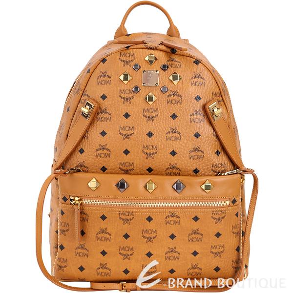 MCM DUAL STARK 品牌圖騰設計兩用後背包(中/棕色) 1720016-B3