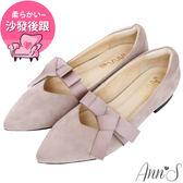 Ann'S高雅緞帶方結沙發後跟平底尖頭鞋-紫灰