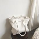 新款韓版簡約百搭白色大容量帆布包