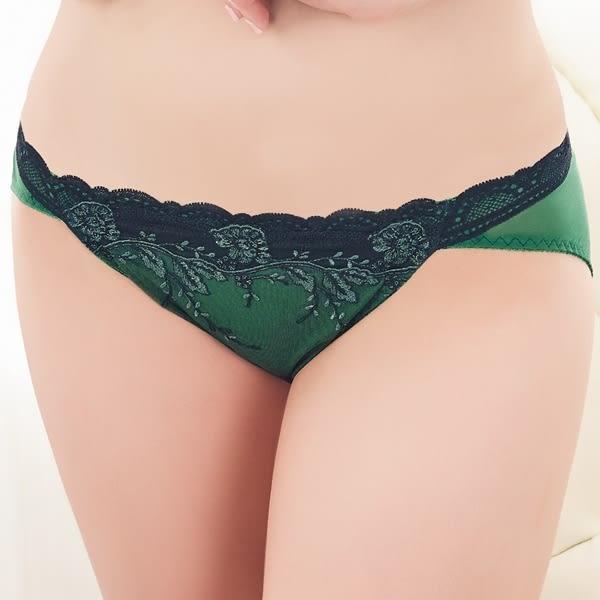 思薇爾-爵戀華爾滋系列刺繡蕾絲低腰三角褲(杜松綠)
