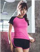 健身服女健身房韓國寬鬆瑜伽服專業速幹網紗短褲跑步運動套裝女夏   LannaS